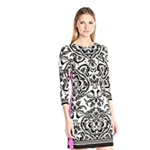Eliza J Printed Shift Dress with Solid Side Dress